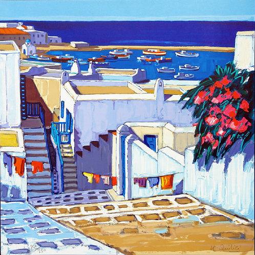 """Lithographie """"Linges au soleil à Mykonos"""""""