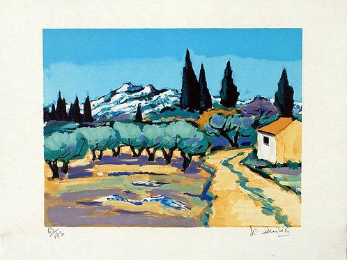 """Lithographie """"Chemin dans les Alpilles"""""""