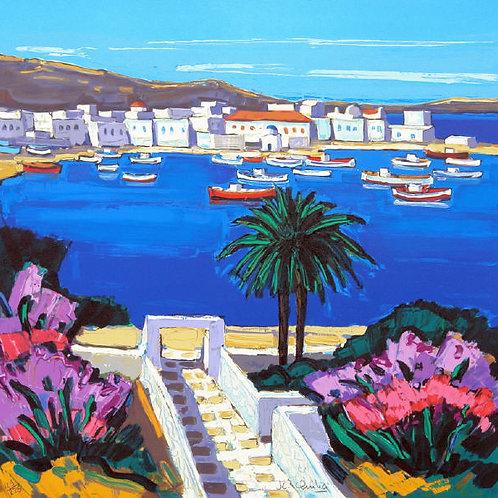 """Lithographie """"Jardin de Mykonos"""""""