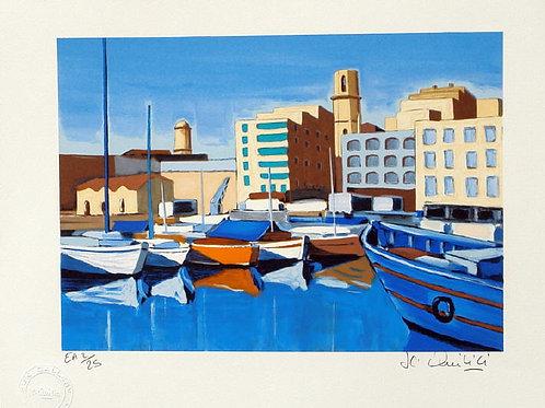 """Lithographie """"Le Vieux-Port - Marseille"""""""