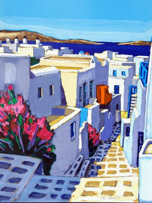 """Lithographie """"Ruelle fleurie à Mykonos"""""""