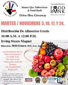 Food Distribution November 3, 10, 17, an
