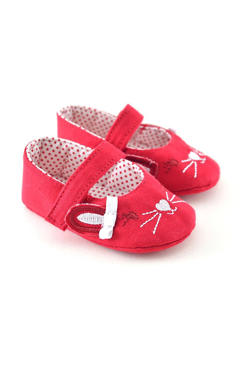 711116 Freesure Kırmızı Kız Bebek Patik  Bebek Ayakkabı