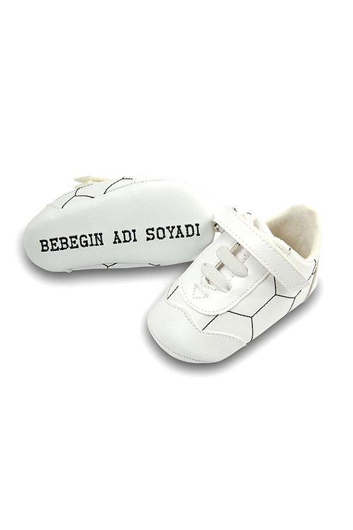 Freesure İsme Özel Lacivert PU Deri Erkek Bebek Patik  MD4