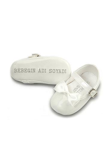 Freesure İsme Özel Beyaz PU Deri Kız Bebek Patik MD1