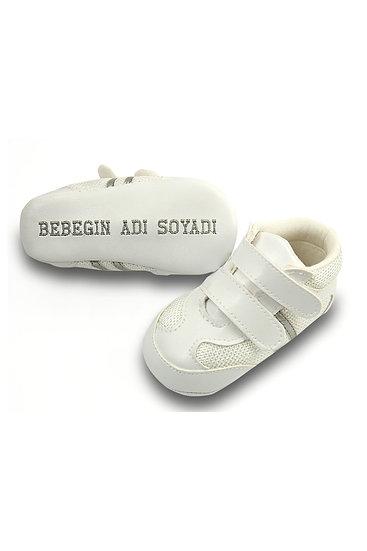 Freesure İsme Özel Gümüş PU Deri Erkek Bebek Patik MD5