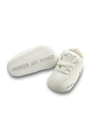 Freesure İsme Özel Gümüş PU Deri Erkek Bebek Patik MD6