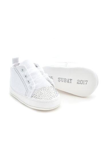 Freesure İsme Özel Beyaz PU Deri Kız Bebek Patik MD2