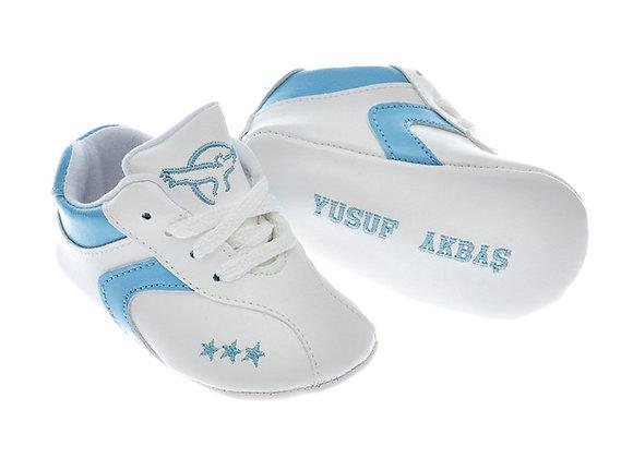 Freesure İsme Özel Mavi PU Deri Erkek Bebek Patik MD6