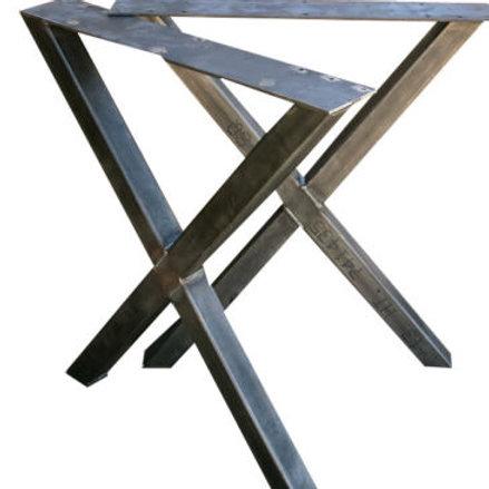 2x Piedi per tavolo, Gambe tavolo metallo finish nero bianco silver