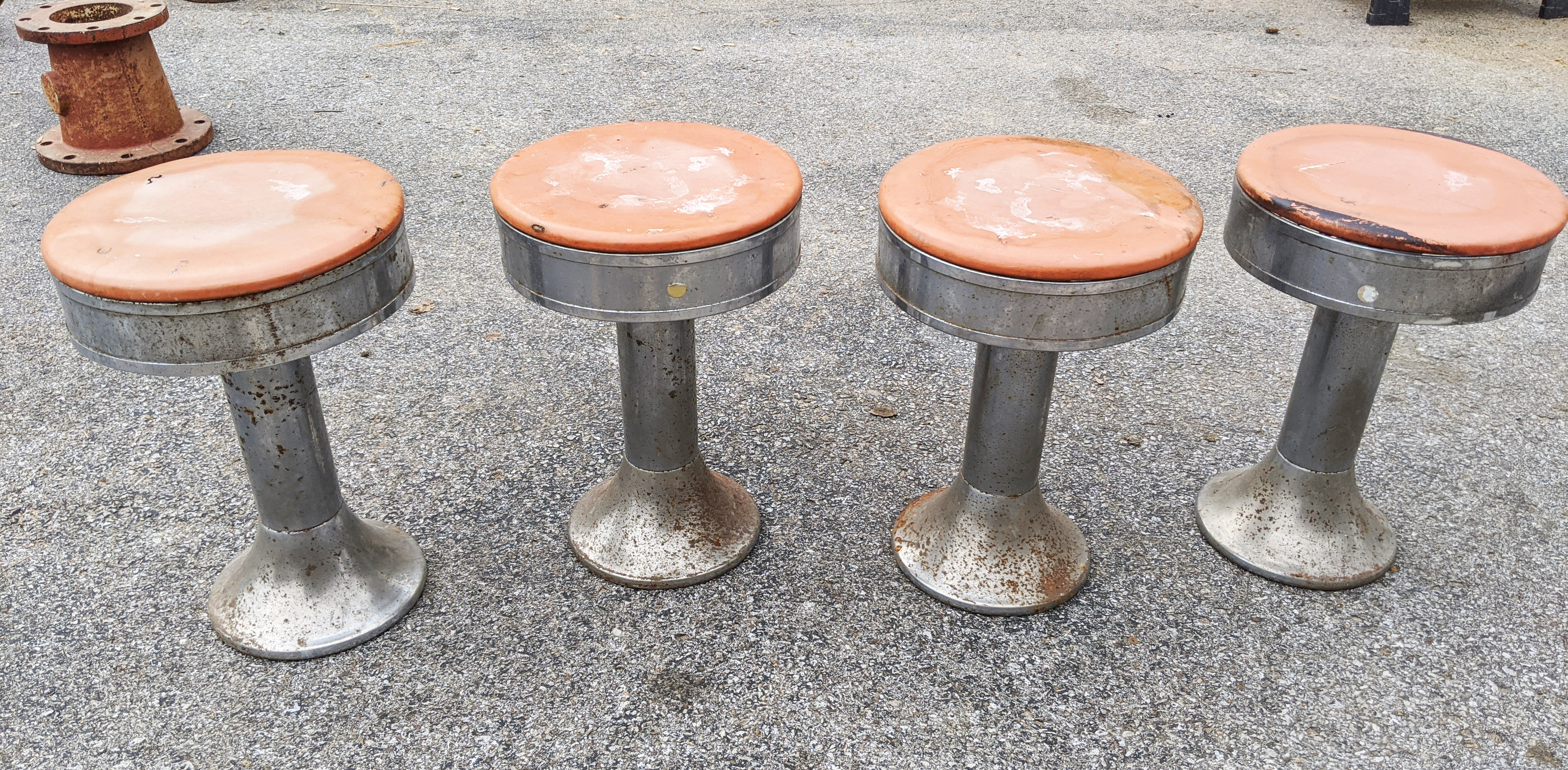 Retro Soda Fountain Floor Mount Swivel Stools