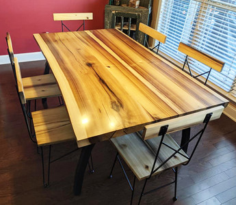 Live-Edge Tulip Poplar Table and Chairs