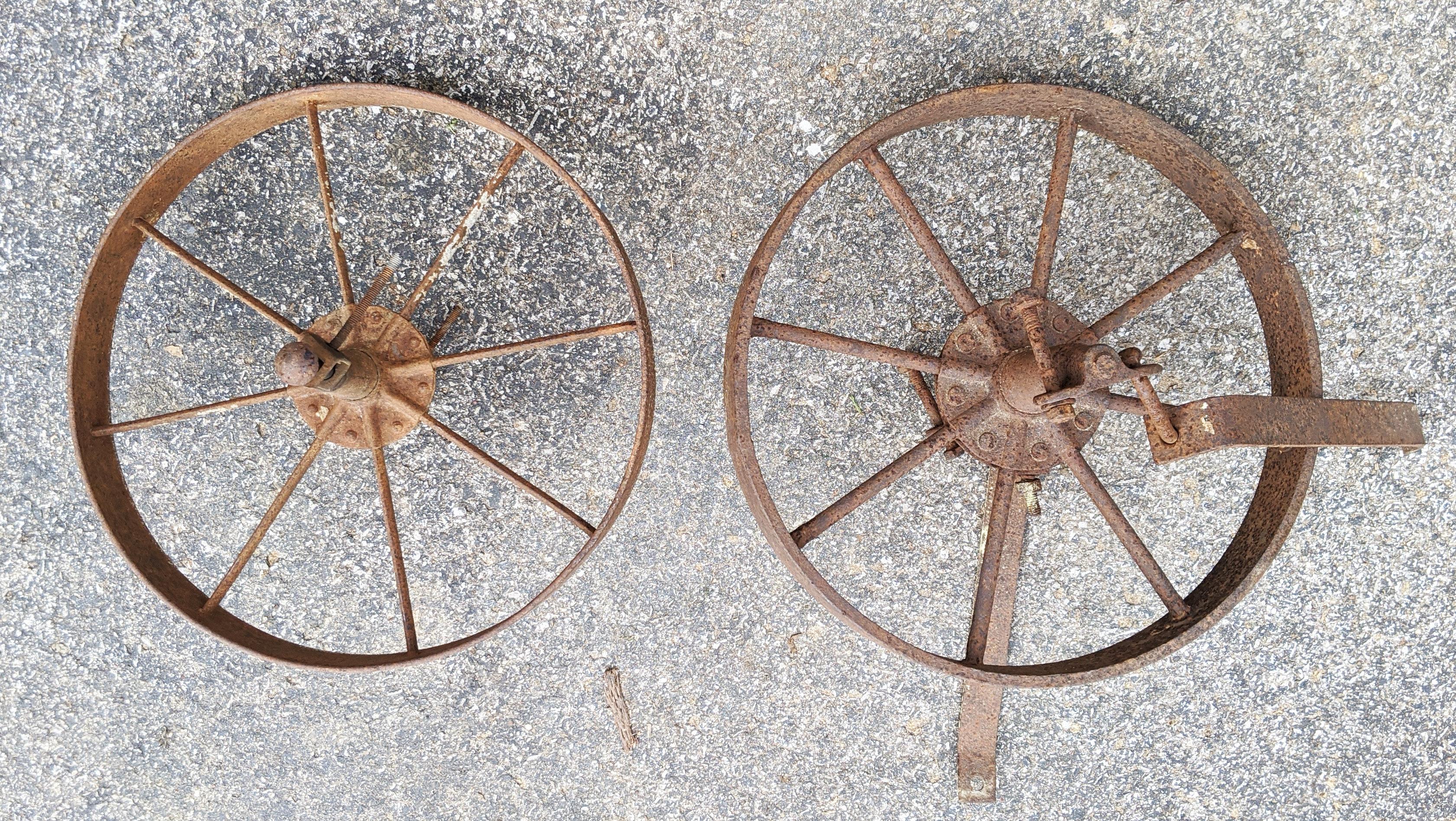 Antique steel wheel Barrow & Implement