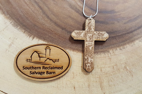 Engraved Wooden Story of Christ Necklace