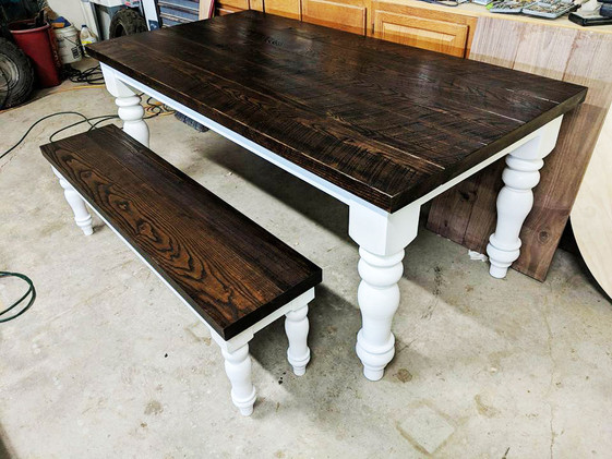 Custom Table and Bench Painted