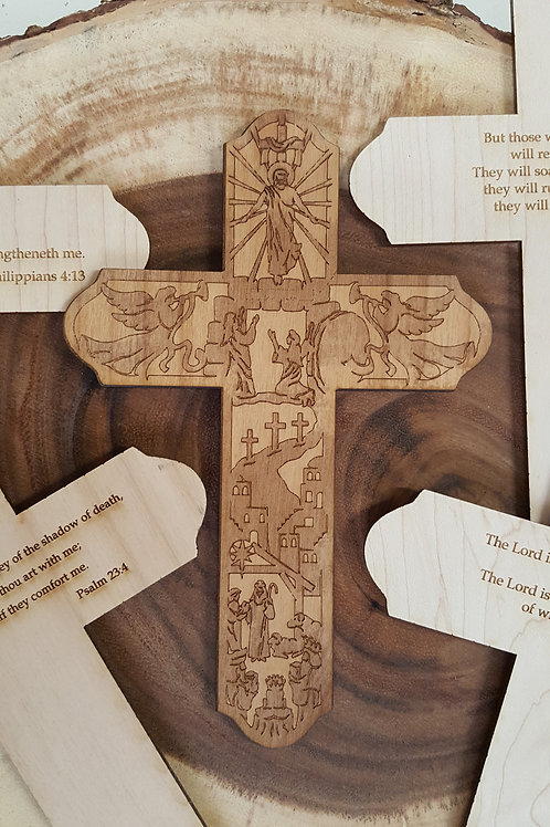 Engraved Story of Christ Wooden Crosses with message on back.