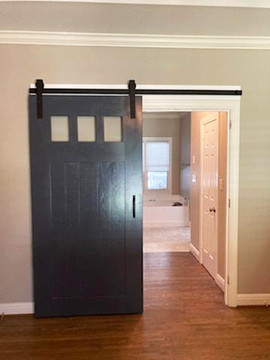 3 Pane Glass Painted Sliding Barn Door