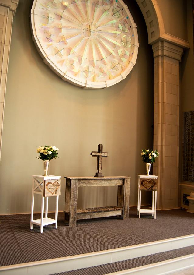Custom Rustic Altar, Cross, Signs, and L