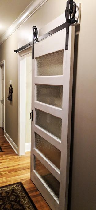 5 - Pane Water Glass Sliding Barn Door