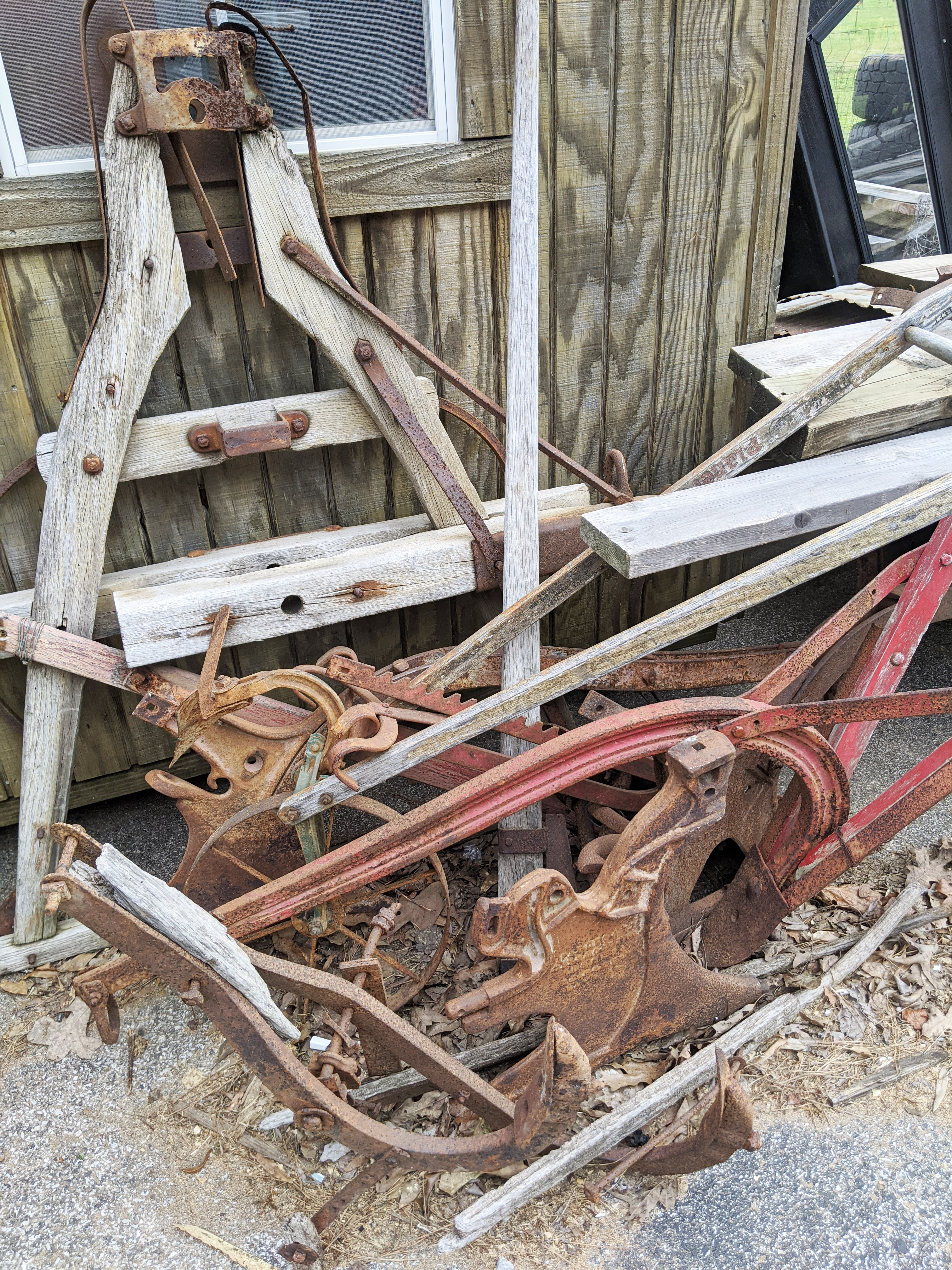 Vintage Horse Drawn Plow with Accessories