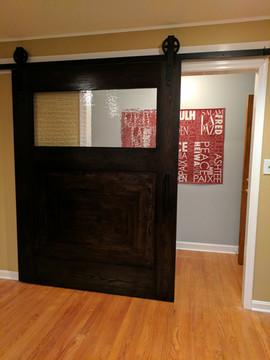 Large Seeded Glass Barn Door