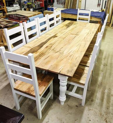 Custom Spaulted Maple Farm Table and Cha