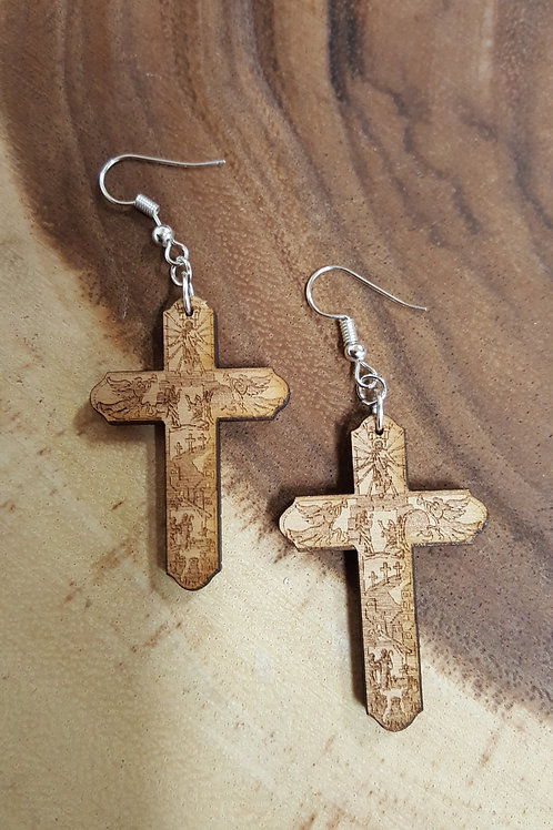 Engraved Wooden Story of Christ Earrings
