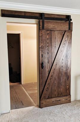 Walnut Stained Z Brace Sliding Barn Door
