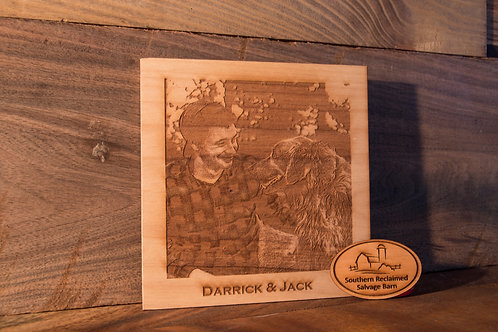 Engraved Wooden Picture With Caption