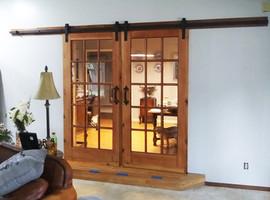 Double Framed Glass Sliding Barn Doors
