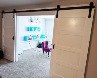 Double 4-Panel White Barn Doors