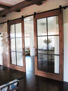 Double Privacy Glass Sliding Barn Doors.