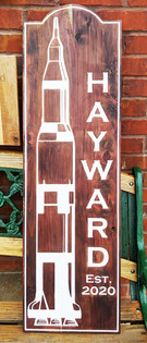 Engraved & Painted Cedar Welcome Sign