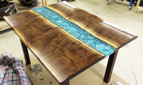 Walnut and Poured Resin River Table