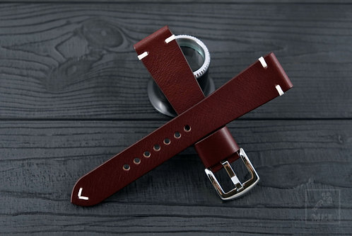 Handmade oxblood leather watch strap ManCaveLather