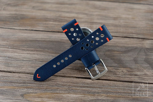 Blue and red leather rally watch strap
