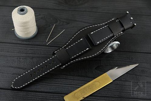 Bund strap black leather Man Cave Leather
