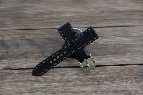 Black leather watch strap textured