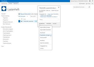 Die Projekteigenschaften werden auf Knopfdruck über den TRUECARE Office Extender in Word- oder Excel-Dokumente geschrieben.