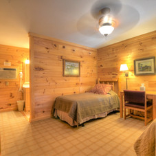 Lodge room with 2 twin beds and full bath