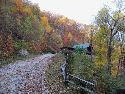 Road to the lodge in the fall