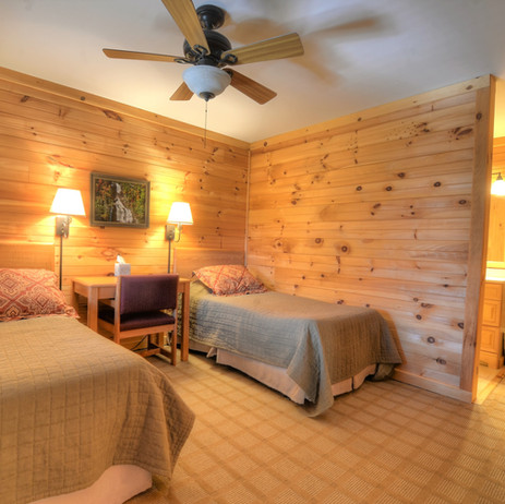 Lodge room with full and twin bed