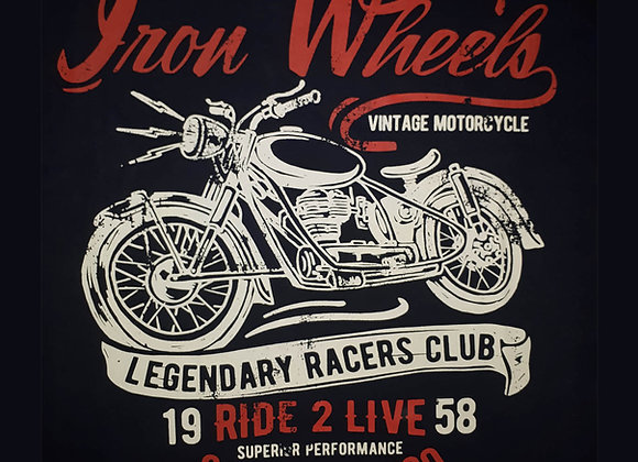 'Iron Wheels' Tee in Black by Espionage