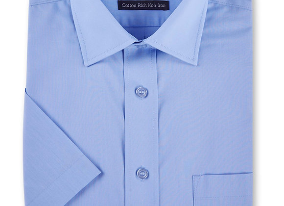 Mid Blue Short-Sleeved Shirt by Double Two