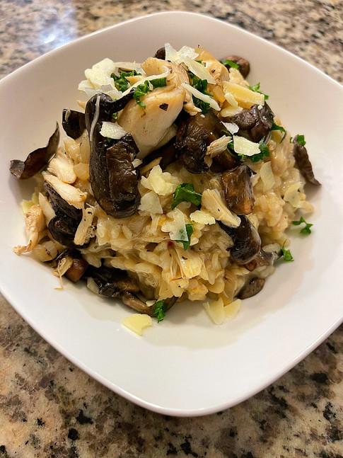 Infused Cremini Mushroom Jumbo Lump Crab Risotto