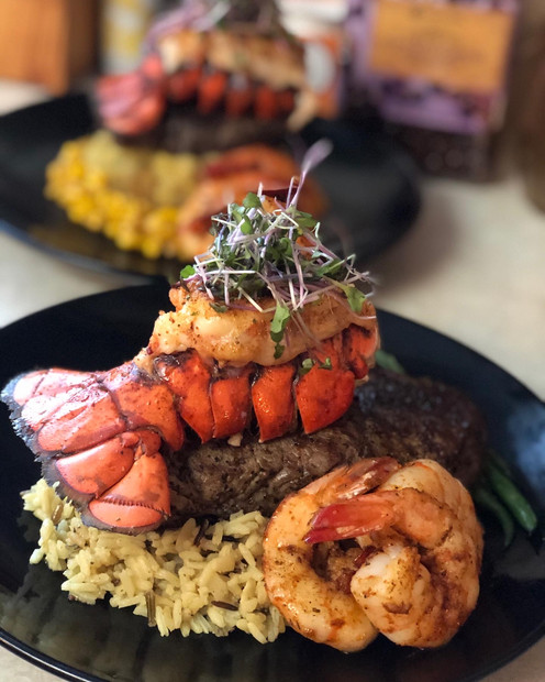 Steak & Lobster Tail w/ Seared Shrimp and Rice Pilaf
