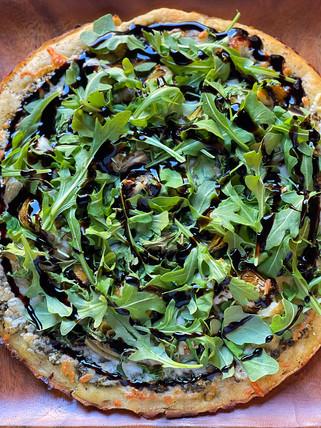 Basil Pesto, Roasted Brussel Sprout, Marinated Artichoke, Aruglua Pizza w/ Balsamic Glaze Drizzle