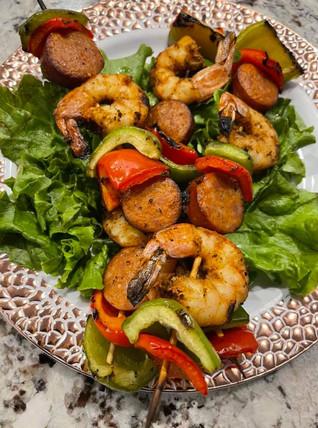 Cajun Shrimp & Andoulle Skewers