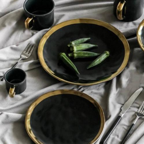 Ceramic Plate Black Gilt Tableware