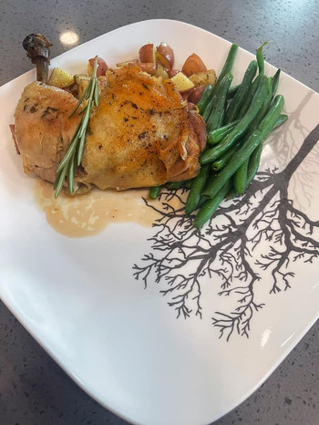 Chicken Confit in Duck Fat, Roasted Potatoes and French Green Beans